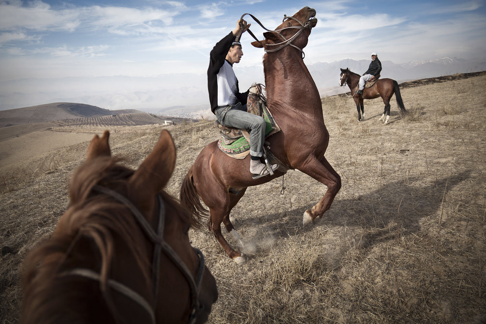 Suhrob, one of five sons in a family of professional buzkashi players exercises his horses in the mountains near Dushanbe.