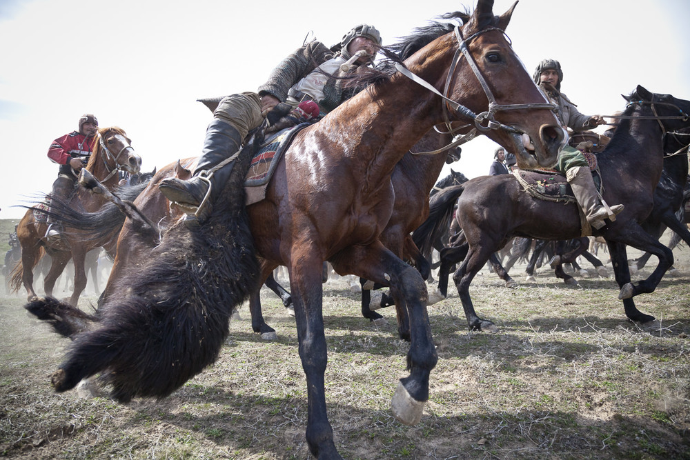 A buzkashi rider escapes from rivals with the prize goat carcass.