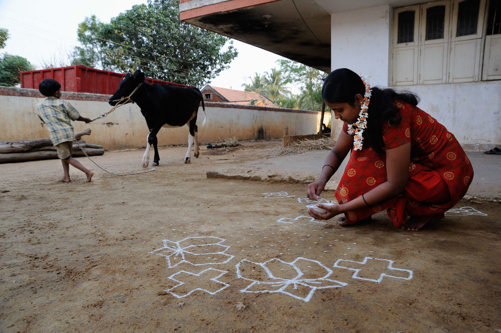 Cow dung mixed with water is spread in front of the doorstep as a ground-base, upon which ceremonial 'rangoli' patterns are drawn. The dung-base floor is refreshed daily, serving as an insect-repellant and cooling agent.
