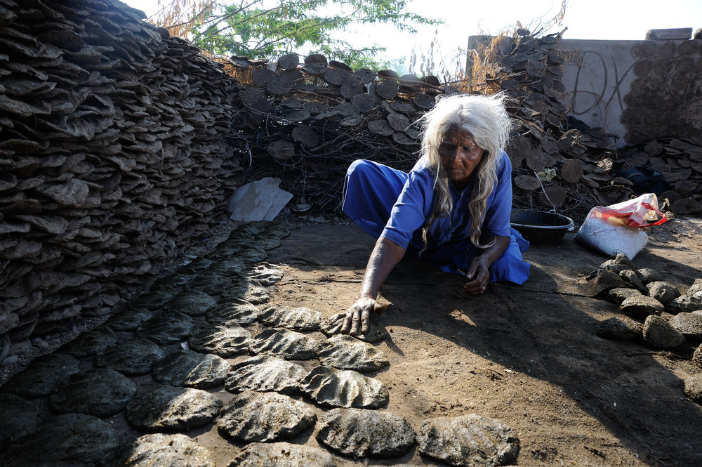 In Bhuj, Gujarat, India, Jethi prepares dung cakes for sale before Holi, a religious day of prayer when ceremonial fires must be lit with a dry dung-cake. Living alone and abandoned by her family, the widow's entire year's savings depend entirely on her dung-cake savings.