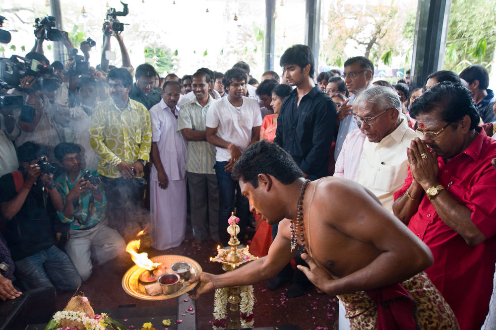 A pre-filming puja or prayer ritual, on the first day of the shoot, in AVM studios, in 'Tollywood' (the Tamil language Hollywood), in Chennai, Tamil Nadu.