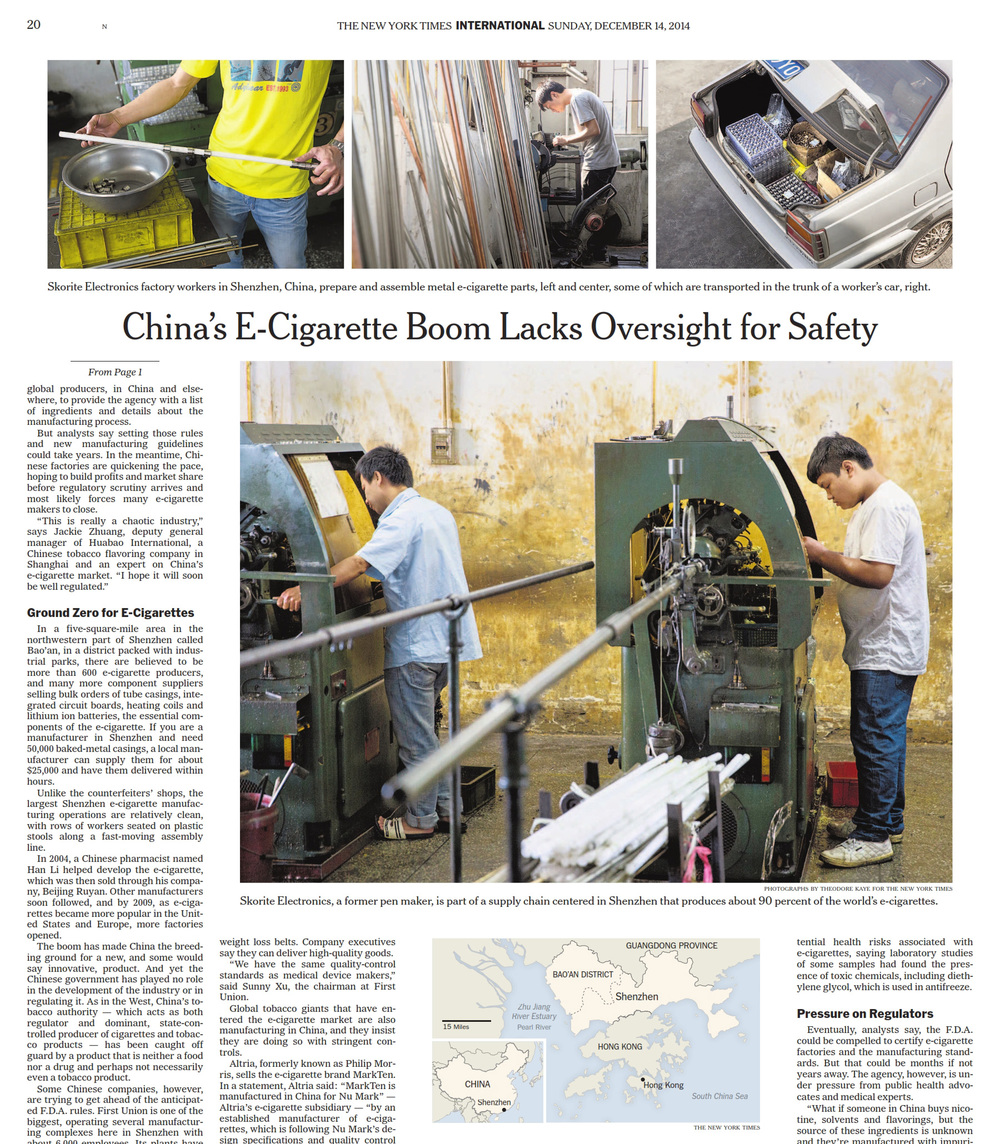 A20, New York Times. December 14, 2014. Feature on E-cigarette production in Shenzhen, China