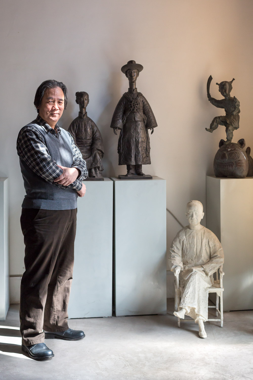 Sculptor Guo Xincong in his Beijing studio. Shot for Sotheby's magazine