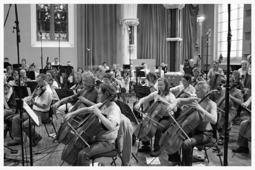 RSNO Cello section recording 2nd movement of CINEMA SYMPHONY, August 2007, Henry Wood Hall, Glasgow.