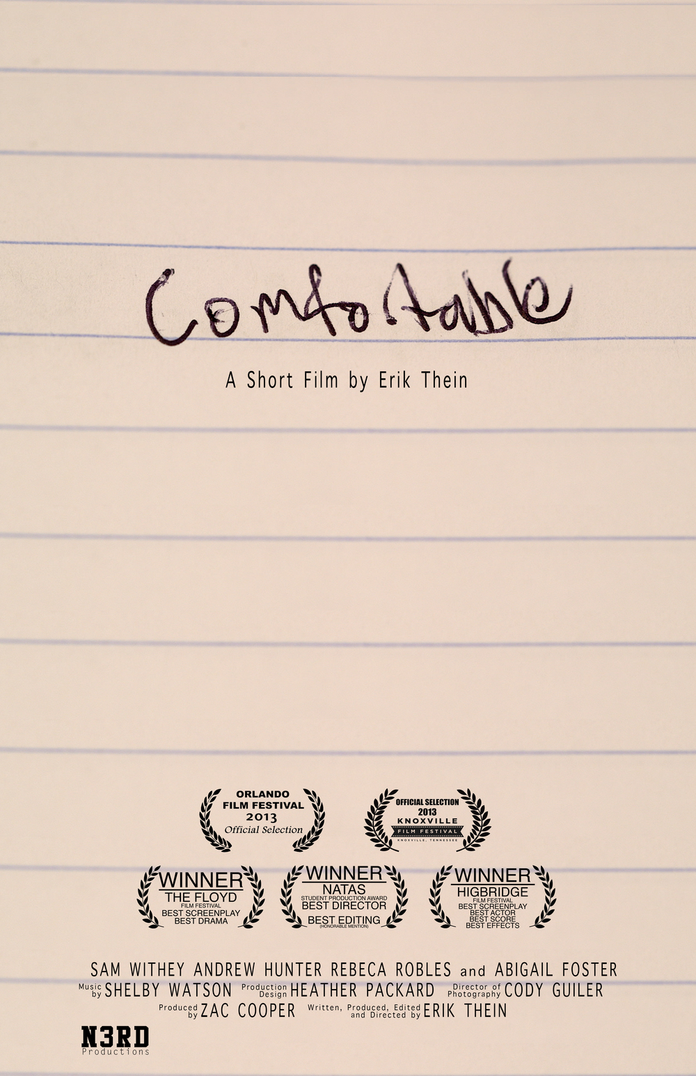 Erik Thein/N3RD Productions \\\ Comfortable (2013)  Boom Operator