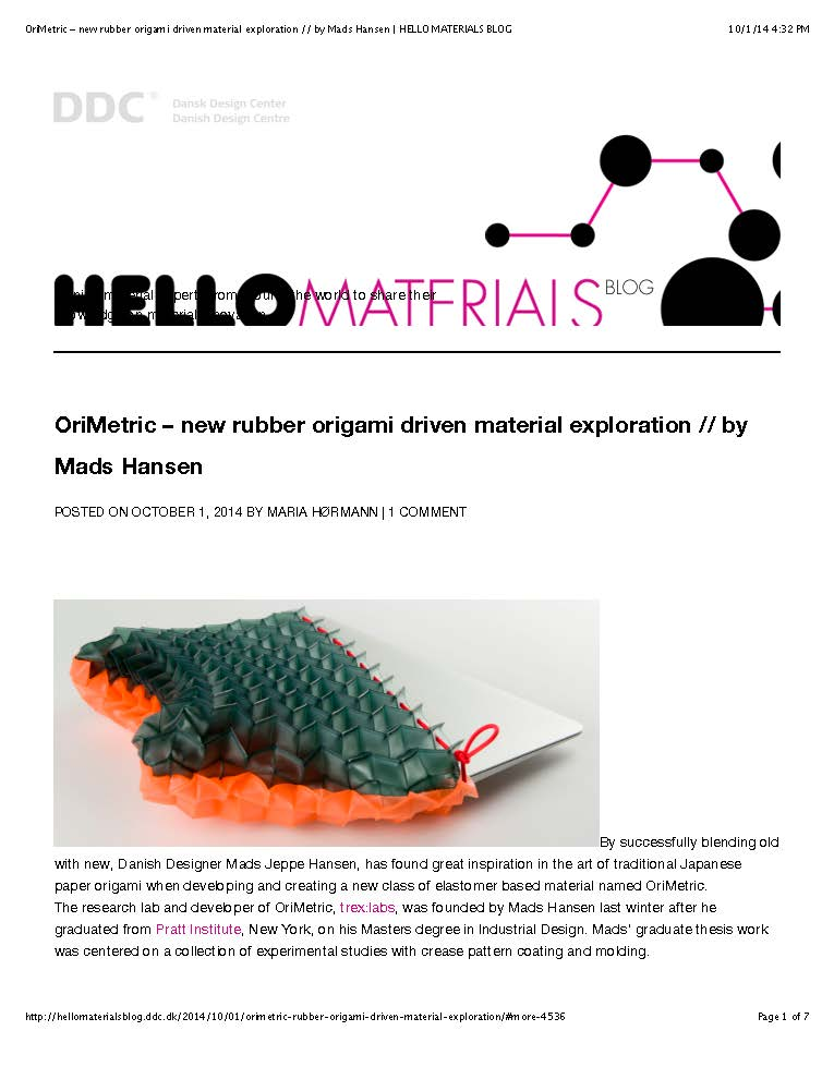 "Preview of ""OriMetric – new rubber origami driven material exploration -- by Mads Hansen 