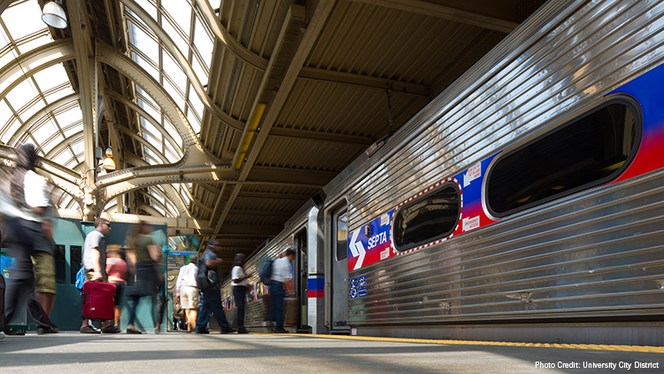 Train at SEPTA Concourse in 30th Street Station