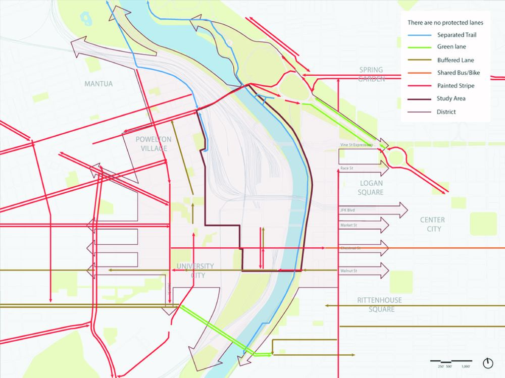 Bicycle Network:    The District's bicycle network extends through much of the study area however there are critical gaps that must be filled to complete the network.