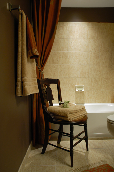 Brown and Orange Bathroom Interior Design