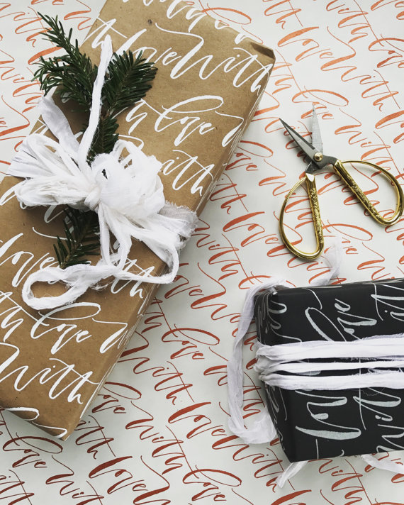 Hand Lettered Gift Wrap via Etsy