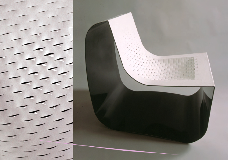 jacob chair: lasercut leather sling seat, 2000