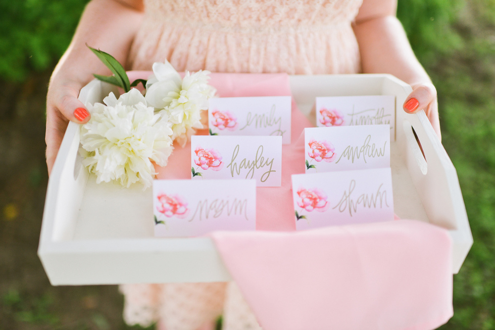 Place Cards for Watercolor Wedding
