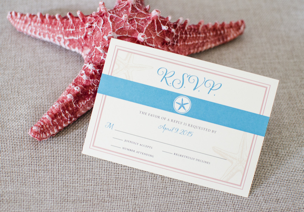 Starfish Wedding RSVP Cards