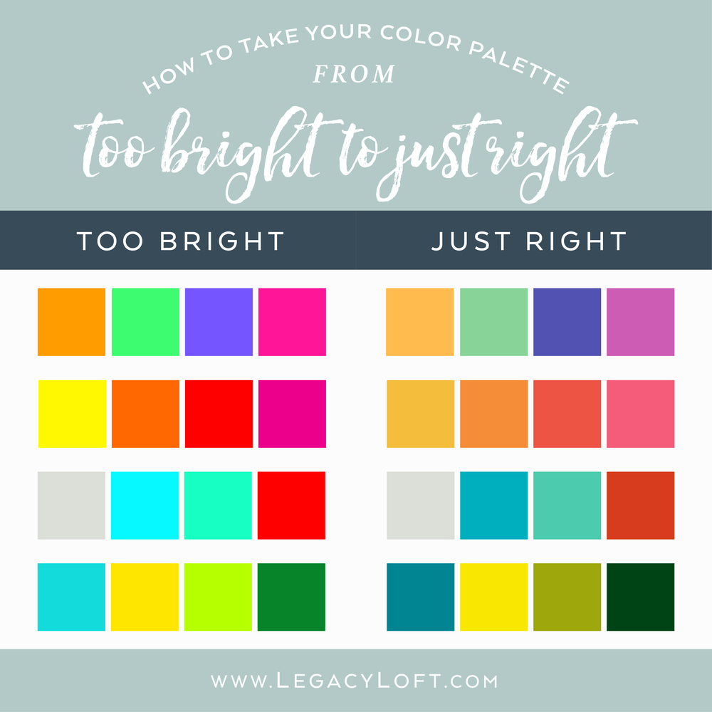 color palette tips too bright
