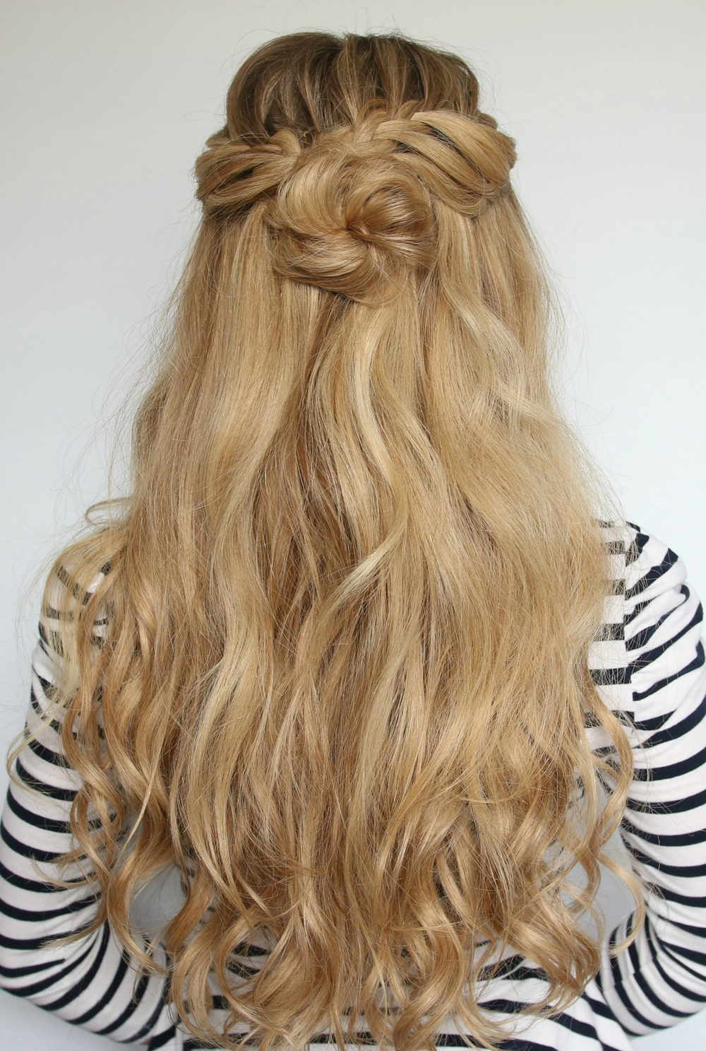 Luxy Hair Romantic Hairstyle: Half-Up Flower Bun