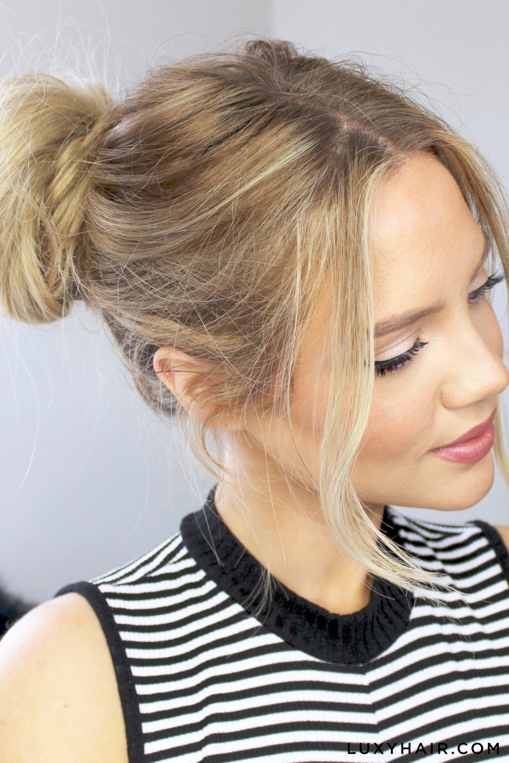 3 cute easy messy buns luxy hair buns luxy hair cute easy messy urmus Gallery