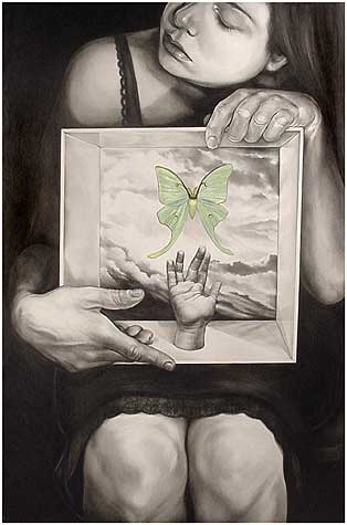 Self-portrait No. 37 (The Entomologist's Daughter),  graphite and gouache on Claybord panel