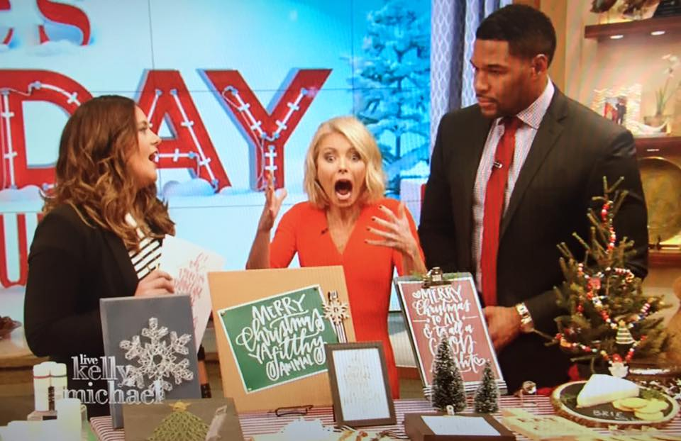 LIVE with Kelly & Michael December 1, 2016 Digital downloads and wrapping paper featured in segment on DIY Holiday Gifts with Knock It Off's Monica Mangin
