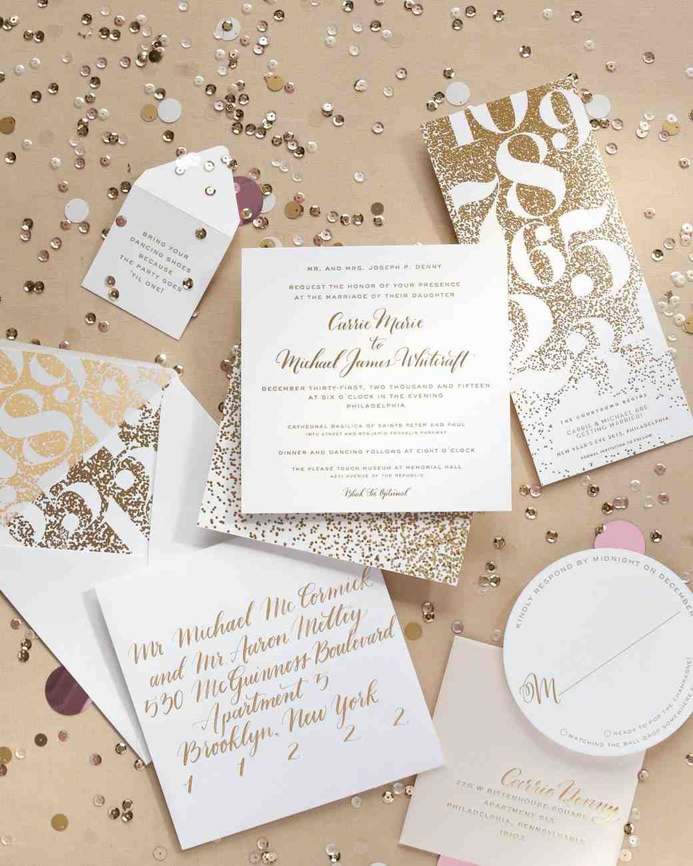 Martha Stewart Real Weddings & Honeymoons   November 2016 Invitation suite calligraphy featured.