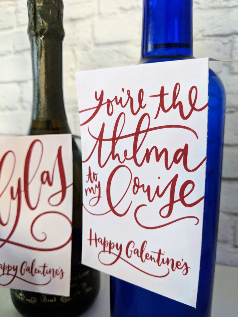 Galentine's Wine Bottle Tags by Manayunk Calligraphy - Thelma & Louise