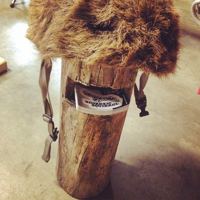 Fur helmet and sticker stand. Helmet will be on sale this weekend for $1,000,000. #squirrel #helmet