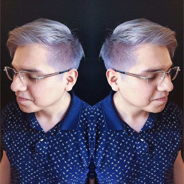 super incredible transformation. 6 hours to take Sean from natural black to an illuminated lavender. Color/cut: Chelsea  #pravana #bumbleandbumble #olaplex