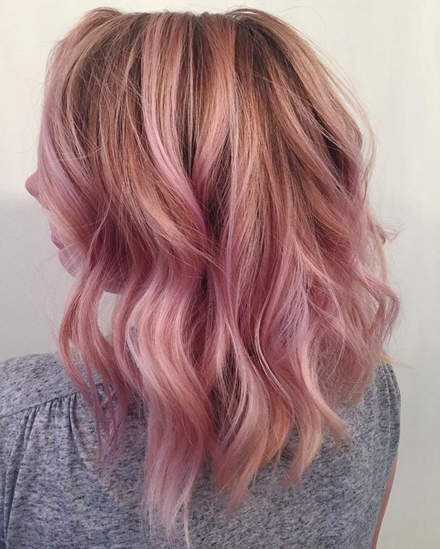 woah dreamy pink hues on this total babe ✨ color + cut by Alicia #balayage #bumbleandbumble