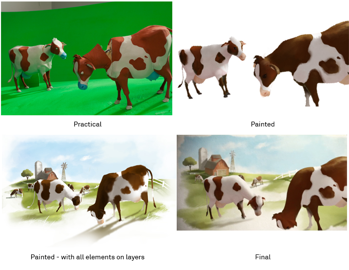 four cows