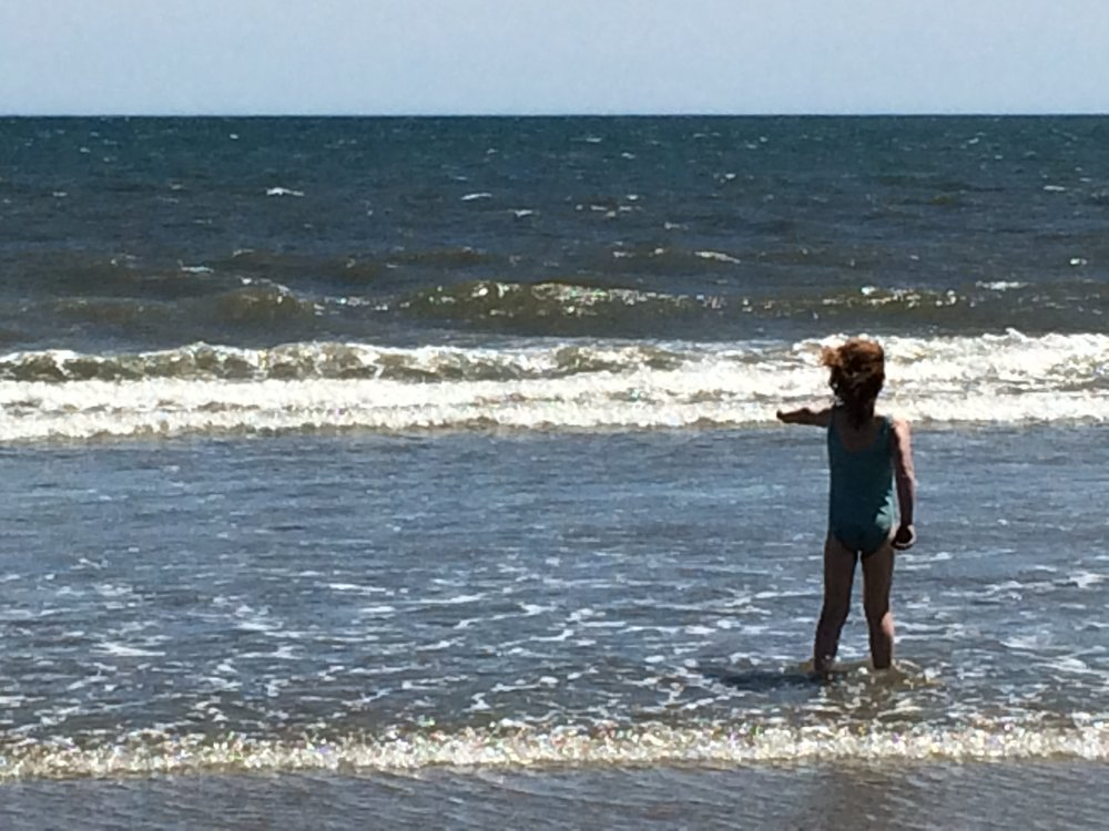 My youngest daughter commands the ocean to do her bidding (Nova Scotia, July 2016)