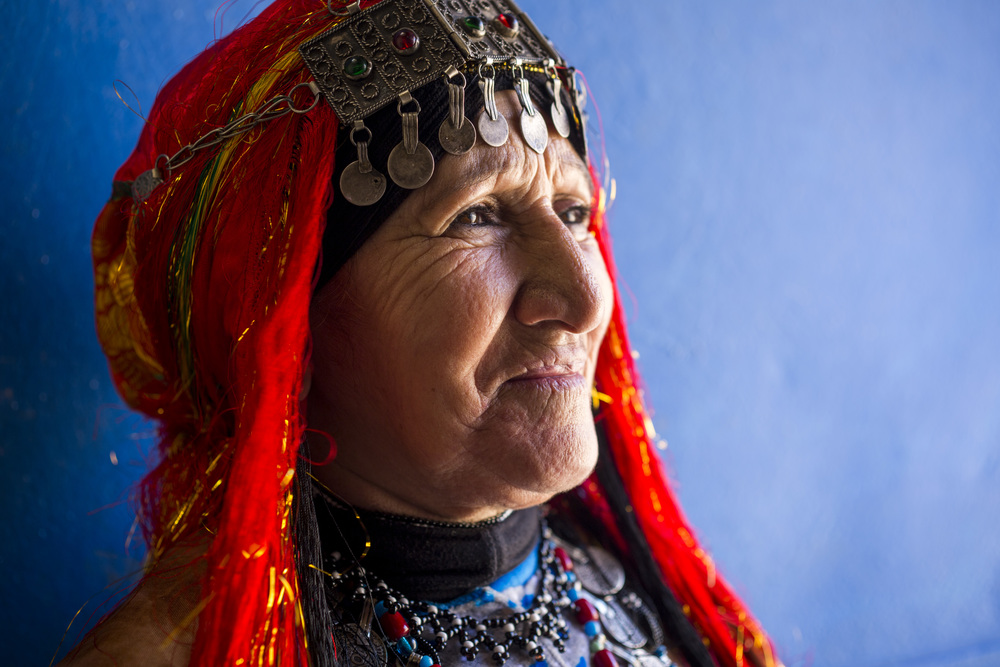 "Fadma Hassi, 74, poses in her traditional Berber qtib, ""Being Amazigh isn't just about tradition, it is a way of life."""
