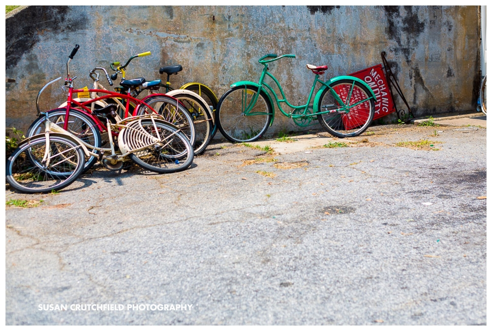 Colorful, vintage bicycles adorn the outside of Thriftown. The movie The Founder about McDonalds founder Ray Kroch starring Michael Keaton will be filmed there starting Thursday.