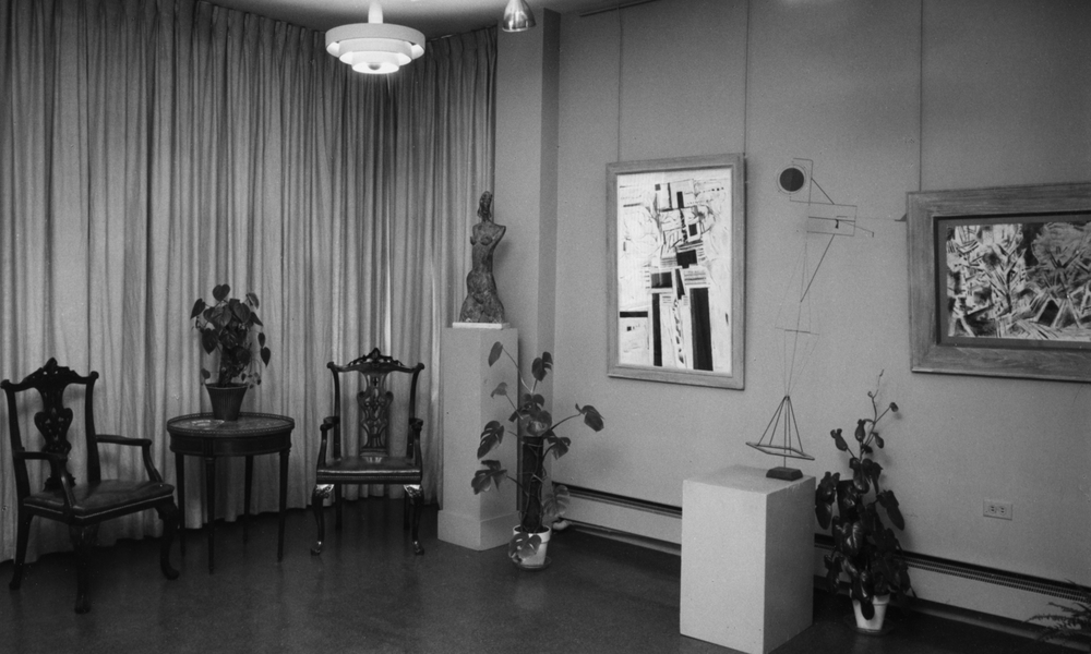 Photograph of Kraushaar Galleries, 1055 Madison Avenue, c. 1968 - two sculptures and two paintings on display