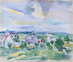 Watercolor landscape of houses, trees, and blue sky with yellow marks