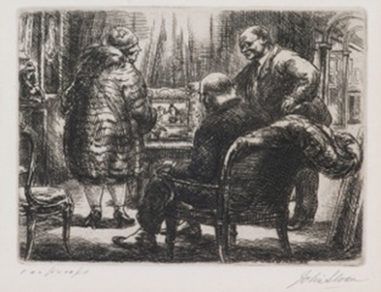 John Sloan's  Kraushaar's -  drawing of three figures (one seated, two standing) looking at art