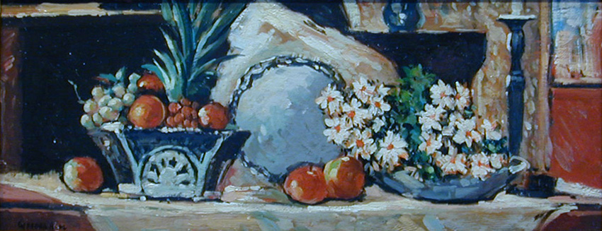 Beal, Still Life with Pineapple and Flowers.jpg