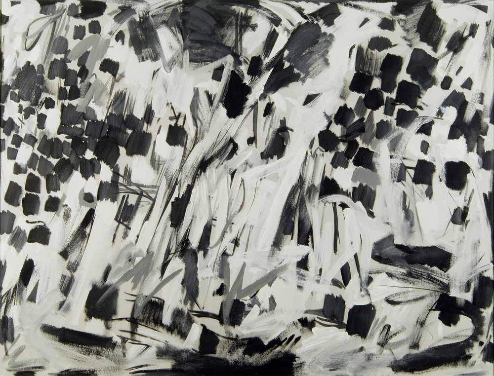 Abstract image of black, white, and grey brushstrokes. Top right and left with wider black brushstrokes.