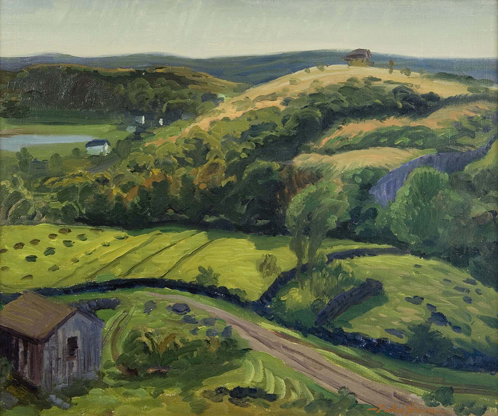 Painting of green valley (hills, field, trees, home on bottom left)