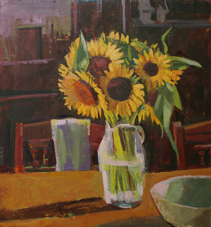 Painting of sunflowers in vase with shadow on table