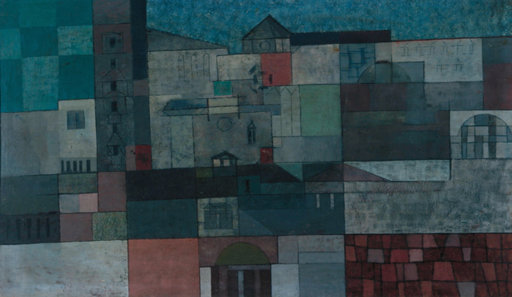 Geometric painting of Italian landscape with blue, green, grey, and red brick blocks