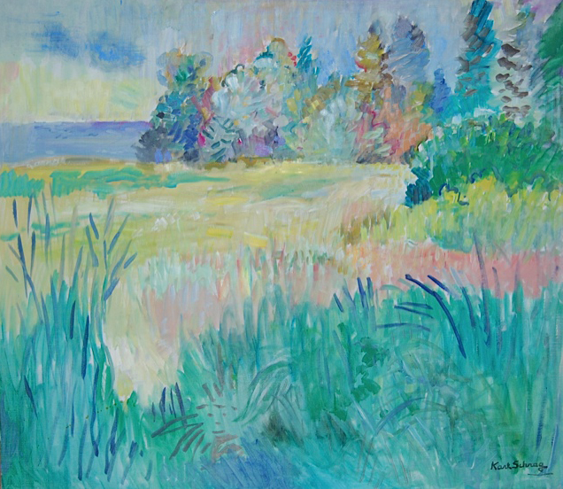 Painting of open field, tall grass in foreground, large trees in background, and water on left