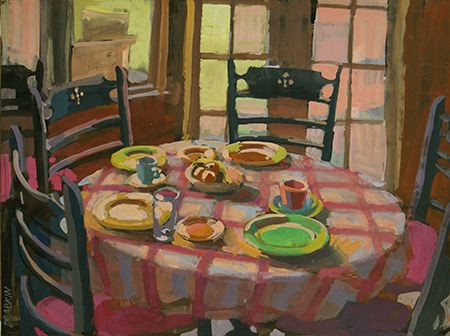 Painting of circular dining table with checkered tablecloth, plates on table, and four chairs