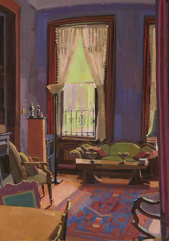 Painting of room with green couch, window with curtains, and purple walls. Tall ceilings,