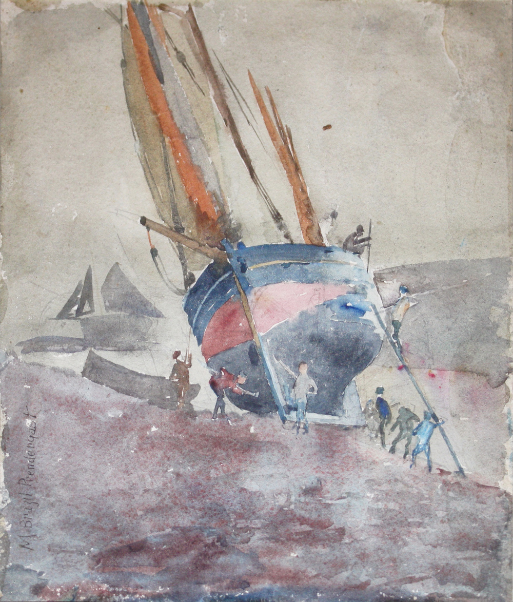 Watercolor of figures overhauling a large sailboat