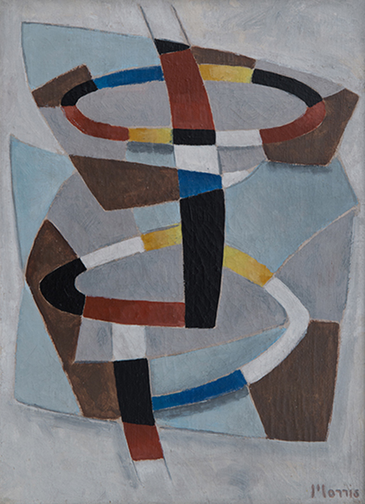 Painting of rings with bands of color (yellow, red, blue, black, white) on blue, grey and brown geometric background