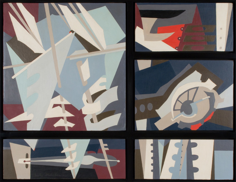 Painting of abstract color block sails with blue, white, grey, purple colors in five panes separated by black lines