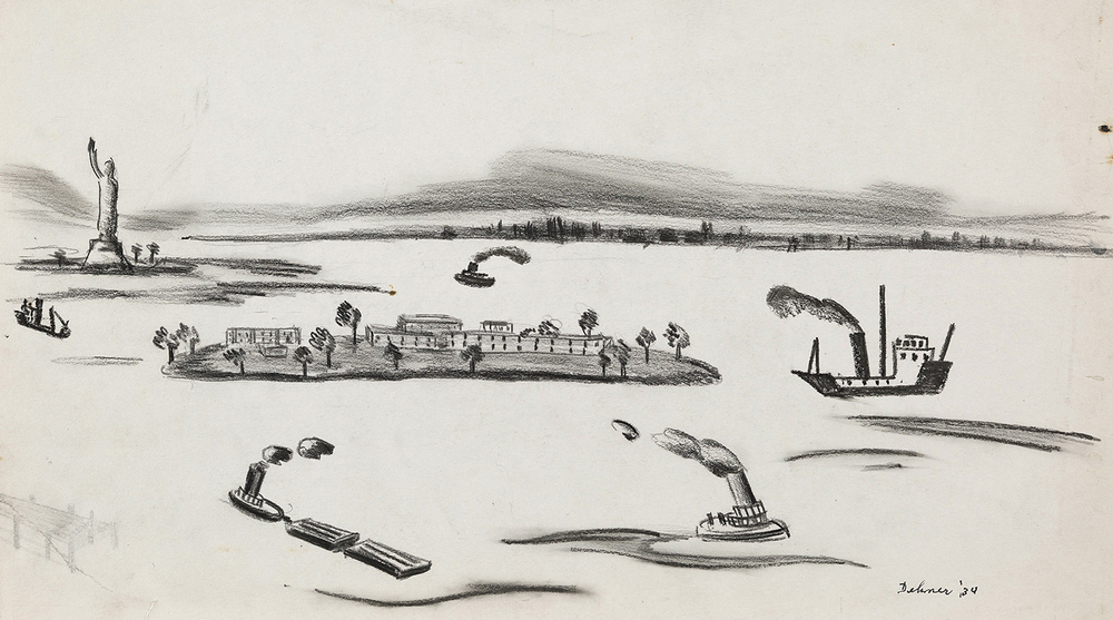 Graphite drawing of New York Harbor and Governors Island: boats on water emitting smoke, Statue of Liberty in background