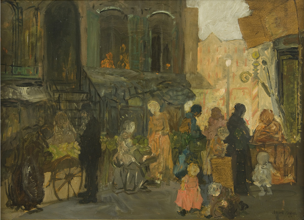 Painting of figures in the street (no visible faces) buying goods outside of a building