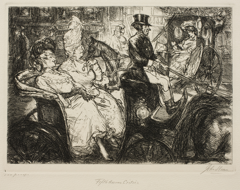 Etching of two women sitting in the back of a horse drawn carriage, driven by a man in a top hat