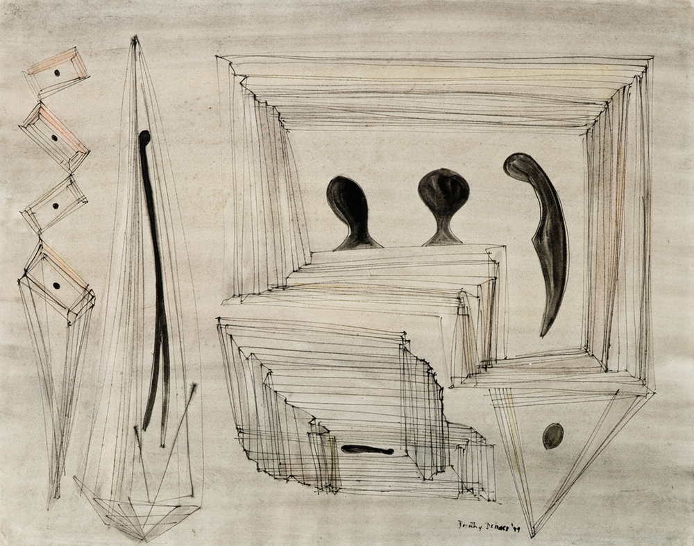 Abstract ink drawing of three black figures with squares surrounding them and two abstract line shapes on left