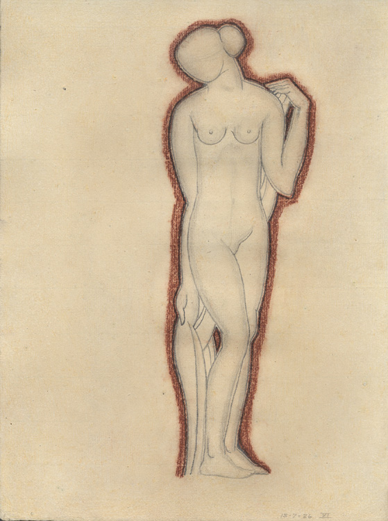 Drawing of standing female nude without a face with a brown/red outline